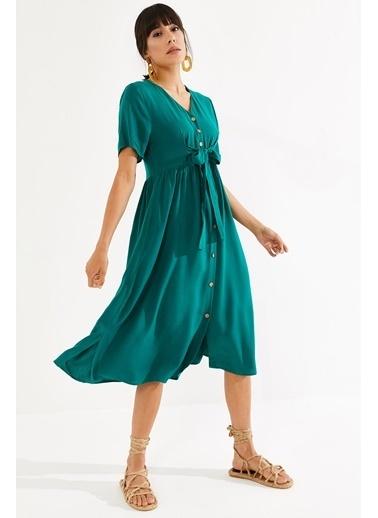 Thil Kadın Çiçek Desenli Boydan Düğmeli Kuşakli Elbise 2187-Thl Yeşil